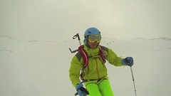 Young man skier skiing down mountain in Japan, super slow motion. Stock Footage