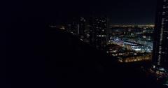 Aerial night panoramic video Sunny Isles Beach Stock Footage