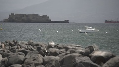 Italian mountains with sea and clouds with rock and ship in Naples Stock Footage