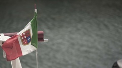 Italian flag in slow motion moving by wind Stock Footage