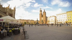 Market Square of Krakow. Time Lapse. Editorial Use Only Stock Footage