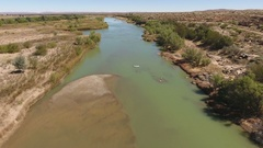 Aerial view of the Orange river - South Africa Stock Footage