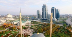 Aerial View Of Chechnya Grozny, Mosque Heart of Chechnya Stock Footage