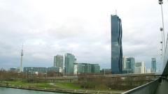 VIENNA, AUSTRIA - DECEMBER, 25 Steadicam shot of riverbank involving Danube Stock Footage