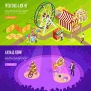 Circus Isometric Horizontal Banners Webpage Design Stock Illustration