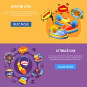 Bumper cars and attractions flat banners Stock Illustration