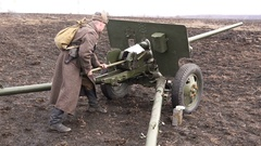 Specialized artillery antitank gun to destroy armored vehicles Stock Footage
