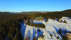 Aerial view of Winter mountains landscape Stock Footage
