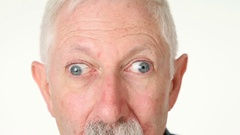 Silly old man with googly eyes Stock Footage
