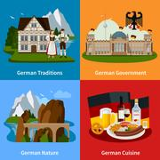 Germany Travel Flat Concept Stock Illustration