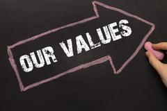 Our Values - Chalkboard with arrow on black Stock Photos