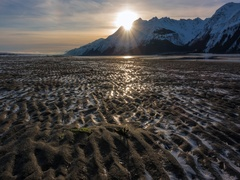 Frozen Tidal Flats Mountain Sunset Time Lapse Stock Footage