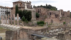 The the ruins of the Roman Forum at the center of the city of Rome Stock Footage