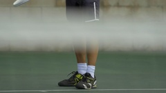 Tennis player practicing serve , slow motion. Stock Footage