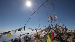 Static shot of Buddhist prayer flags Stock Footage