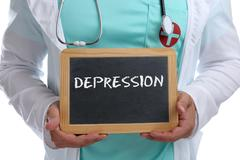 Depression depressed burnout ill illness healthy health young doctor Stock Photos