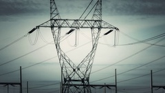 Ominous Powerlines Zoom Out Stock Footage