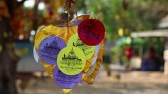Golden Heart Swinging In The Wind, Pattaya, Thailand Stock Footage