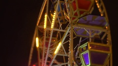 Ferris wheel at night Stock Footage