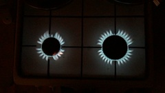 Kitchen gas burners in the dark Stock Footage