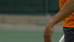 Man playing tennis , slow motion. Stock Footage