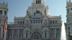 Madrid Cibeles Square Palace Refugees Welcome Stock Footage