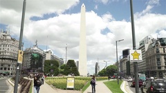 People at obelisk in Buenos Aires Stock Footage