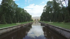 Channel with fountain in Peterhof Stock Footage