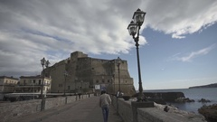 Gimbal shot castel dell ovo in Naples, Italy Stock Footage
