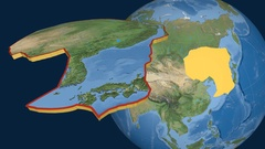 Amur tectonic plate. Satellite imagery Stock Footage