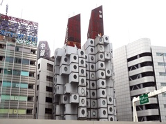 The iconic Nakagin Capsule Tower in Shimbashi, Tokyo. Stock Footage