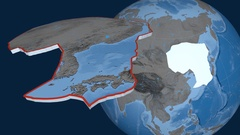 Amur tectonic plate. Elevation and bathymetry Stock Footage