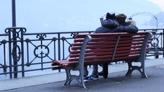 Video of Couple in love sitting in Lugano Stock Footage