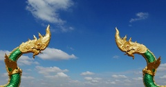 Dragon statues facing each other at Nakhon Phanom, Thailand. Stock Footage