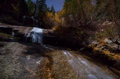 5K MoCo Astro Timelapse of Fall Foliage Waterfalls in Eastern Sierra  Stock Footage