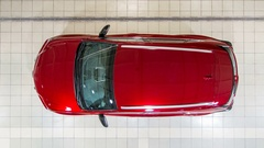 Top view of cars entering to the workshop service station timelapse Stock Footage