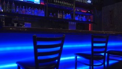 Empty Tavern and neon Lights Changing Stock Footage