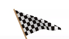 Finishing checkered flag on white background. 3D image render Stock Footage