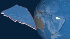 Balmoral Reef tectonic plate. Elevation and bathymetry Stock Footage