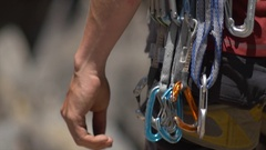 Details of rock climbing equipment. Stock Footage