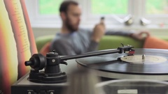 Vinyl LP Record Switchover Stock Footage