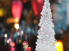 Toy christmas tree on the real christmas tree celebration background Stock Footage