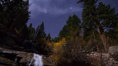 MoCo Pan Astro Timelapse of Fall Foliage Waterfalls in Eastern Sierra -Tilt Down Stock Footage