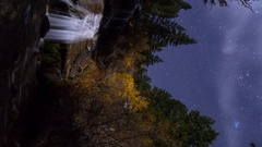 MoCo Pan Astro Timelapse of Fall Foliage Waterfalls in Eastern Sierra -Vertical- Stock Footage
