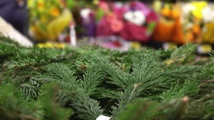 Concept Christmas shopping. Purchase of branches Christmas tree in hypermarket Stock Footage
