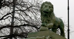 Sculpture of a lion, snowfall, Saint Petersburg, Russia Stock Footage