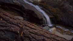 MoCo Tracking Timelapse of Fall Foliage Waterfalls in Eastern Sierra -Long Crop- Stock Footage