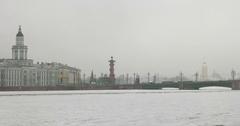 Kuntskamera, Rostral column, frozen river, Saint Petersburg, Russia Stock Footage