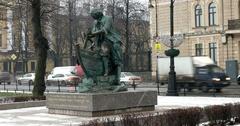 Monument to Tsar carpenter, snowfall, Saint Petersburg, Russia Stock Footage