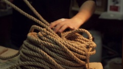 Coil of rope on a table Stock Footage